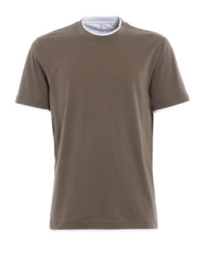 Brunello Cucinelli: t-shirts - Contrasting layered green Tee