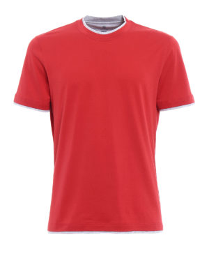Brunello Cucinelli: t-shirts - Contrasting layered red Tee