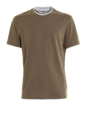 Brunello Cucinelli: t-shirts - Contrasting layered Tee