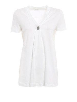 Brunello Cucinelli: t-shirts - Embellished V-neck T-shirt