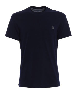 Brunello Cucinelli: t-shirts - Embroidered chest pocket blue Tee