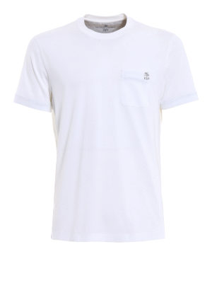 Brunello Cucinelli: t-shirts - Embroidered chest pocket white Tee