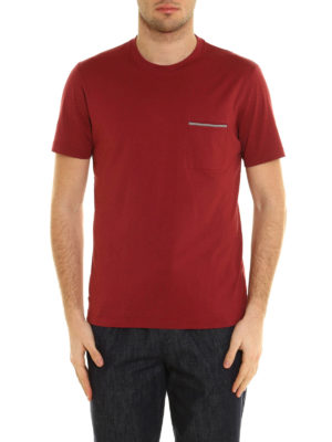 Brunello Cucinelli: t-shirts online - Chest pocket melange cotton T-shirt