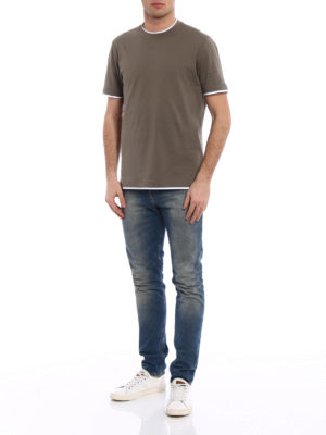 Brunello Cucinelli: t-shirts online - Contrasting layered green Tee