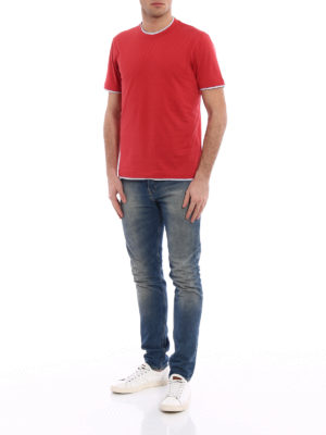 Brunello Cucinelli: t-shirts online - Contrasting layered red Tee