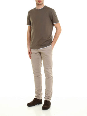 Brunello Cucinelli: t-shirts online - Contrasting layered Tee