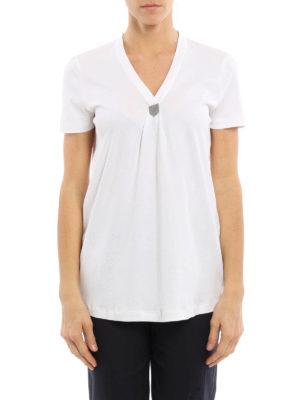 Brunello Cucinelli: t-shirts online - Embellished V-neck T-shirt