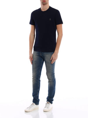 Brunello Cucinelli: t-shirts online - Embroidered chest pocket blue Tee