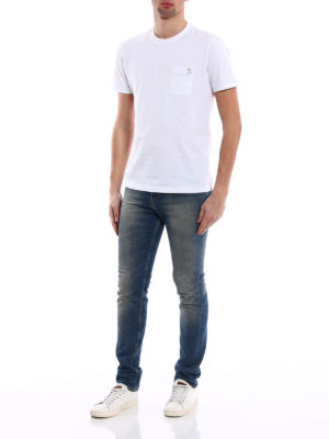Brunello Cucinelli: t-shirts online - Embroidered chest pocket white Tee