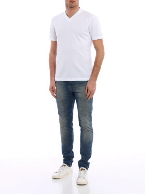Brunello Cucinelli: t-shirts online - Layered V-neck cotton T-shirt