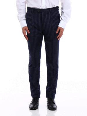 Brunello Cucinelli: Tailored & Formal trousers online - Pinstriped wool trousers