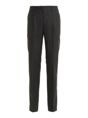 Brunello Cucinelli: Tailored & Formal trousers - Pinstriped wool formal trousers