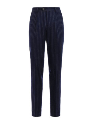 Brunello Cucinelli: Tailored & Formal trousers - Pinstriped wool trousers