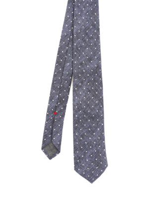 Brunello Cucinelli: ties & bow ties - Blue linen and silk polka dot tie
