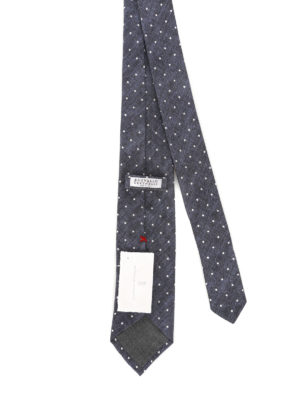 Brunello Cucinelli: ties & bow ties online - Blue linen and silk polka dot tie