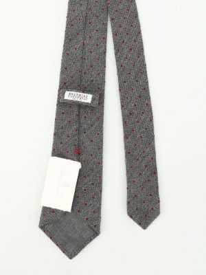 Brunello Cucinelli: ties & bow ties online - Wool and silk polka dot tie