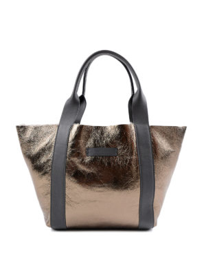 Brunello Cucinelli: totes bags - Laminated leather and shearling bag