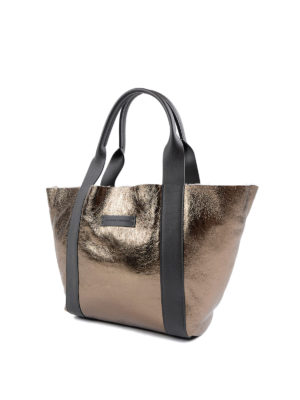 Brunello Cucinelli: totes bags online - Laminated leather and shearling bag