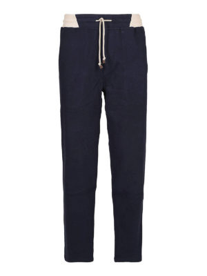 BRUNELLO CUCINELLI: pantaloni sport - Pantaloni in cotone stretch blu