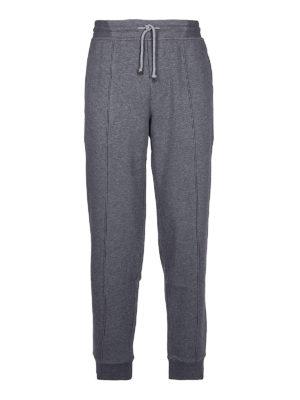 BRUNELLO CUCINELLI: pantaloni sport - Joggers in cotone con piega cucita