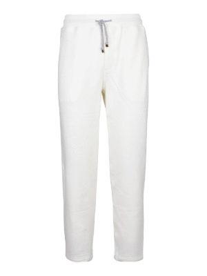 BRUNELLO CUCINELLI: pantaloni sport - Pantaloni in cotone stretch bianco
