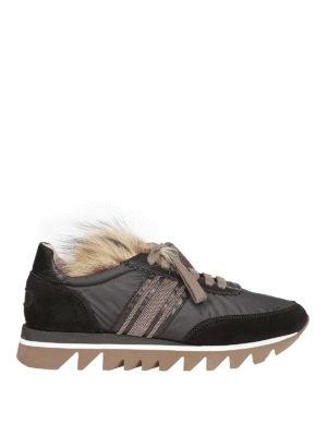 BRUNELLO CUCINELLI: sneakers - Sneaker con banda preziosa e pelliccia