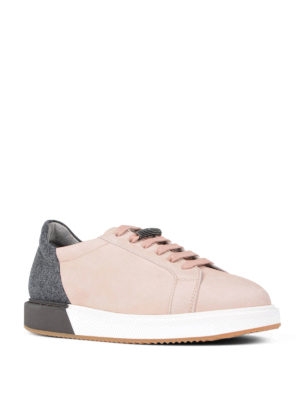 Brunello Cucinelli: trainers online - Leather felt colour block sneakers