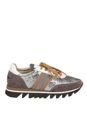 BRUNELLO CUCINELLI: sneakers - Sneaker in pelle laminata con banda preziosa