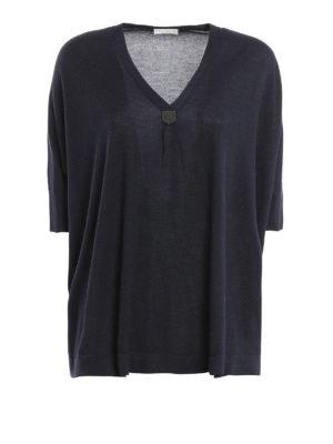 Brunello Cucinelli: v necks - Cashmere and silk short sleeve pull