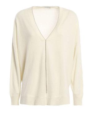 Brunello Cucinelli: v necks - Cashmere monile sweater
