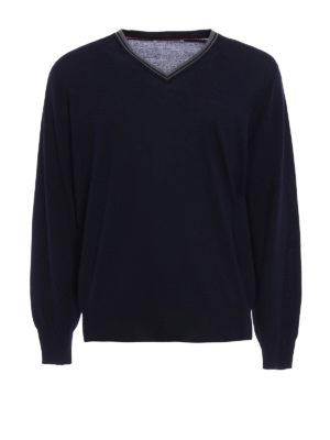 Brunello Cucinelli: v necks - Combed wool cashmere sweater