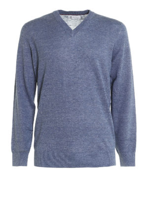 Brunello Cucinelli: v necks - Cotton and linen blend pullover