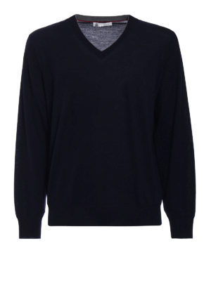 Brunello Cucinelli: v necks - Dark blue wool cashmere pullover