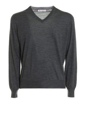 Brunello Cucinelli: v necks - Knitted wool and cashmere V-neck