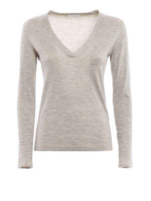 Brunello Cucinelli: v necks - Lurex insert long sleeve T-shirt