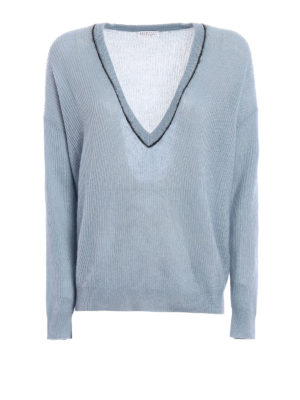 Brunello Cucinelli: v necks - Mohair and wool V-neck sweater