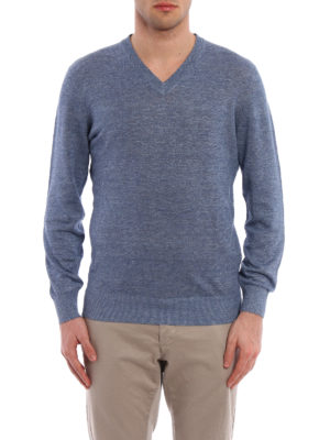 Brunello Cucinelli: v necks online - Cotton and linen blend pullover