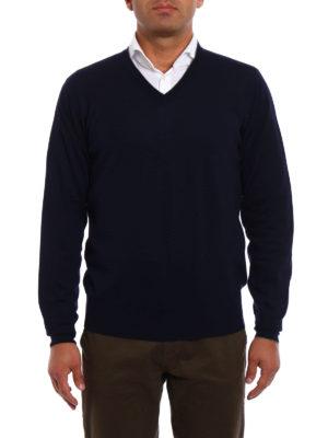 Brunello Cucinelli: v necks online - Dark blue wool cashmere pullover