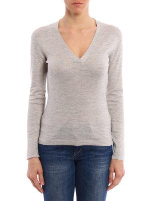 Brunello Cucinelli: v necks online - Lurex insert long sleeve T-shirt