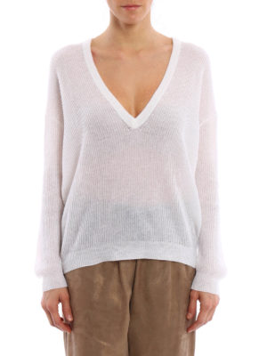 Brunello Cucinelli: v necks online - Ribbed mohair blend sweater