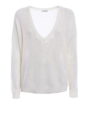 Brunello Cucinelli: v necks - Ribbed mohair blend sweater