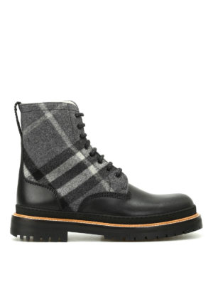 Burberry: ankle boots - William leather and tartan booties