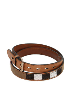Burberry: belts - Check canvas and leather belt