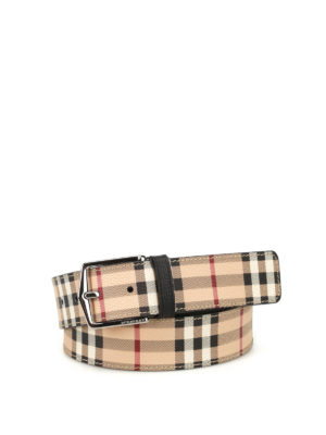 Burberry: belts - Haymarket Joe print leather belt