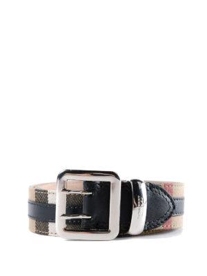 BURBERRY: cinture - Cintura in cotone check e pelle