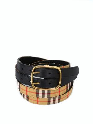 BURBERRY: cinture - Cintura Lynton Vintage check a doppia asta