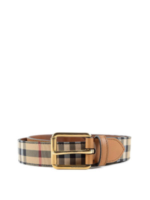 Burberry: belts - Mark canvas and leather belt