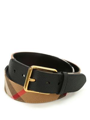 Burberry: belts - Mark Check pattern leather belt