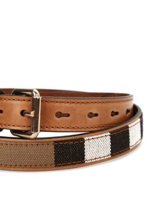 Burberry: belts online - Check canvas and leather belt
