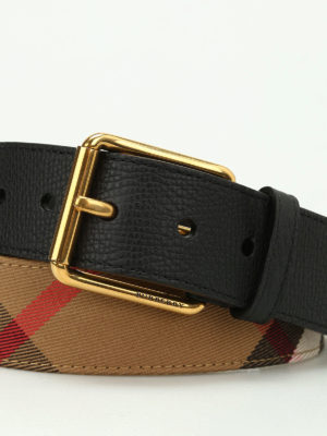 Burberry: belts online - Mark Check pattern leather belt